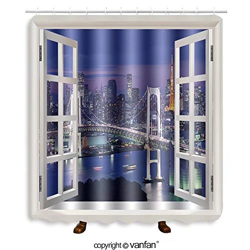 Vanfan designed Windows 118134214 Tokyo, Japan at Rainbow Bridge and Tokyo Bay Shower Curtains,Waterproof Mildew-Resistant Fabric Shower Curtain For Bathroom Decoration Decor With Shower - Near Bay Outlets Bridge