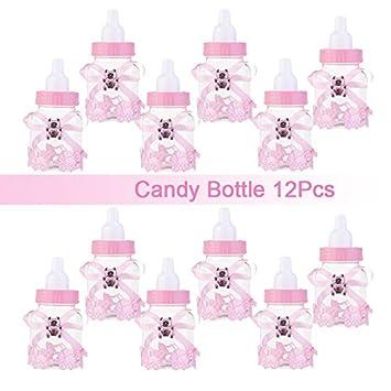 Candy botella caja de regalo bebé ducha bautismo bautizo cumpleaños boda dulces regalos decoración 12 piezas