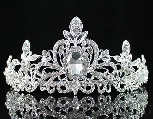 Loyal Clear Austrian Rhinestone Tiara Crown Headband Bridal Wedding Prom T1402 Silver by royal*wedding