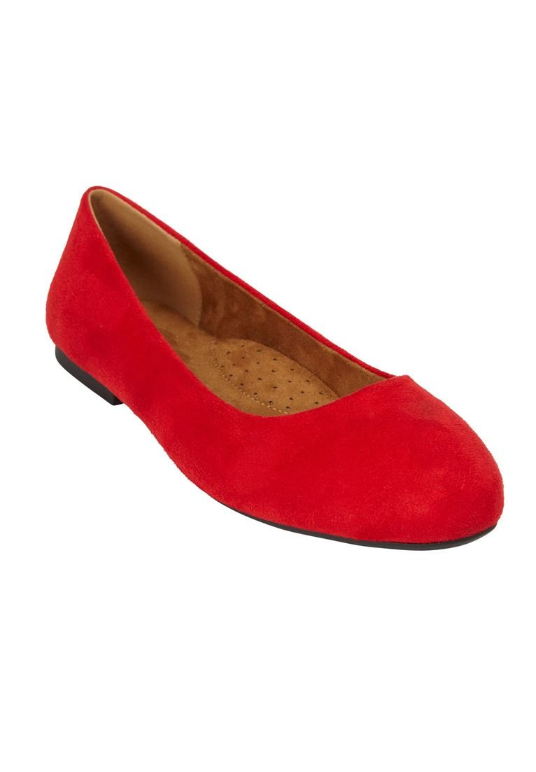 Comfortview Women's Wide The Beth Flat B07F2NSSYW 7 W US|Bright Ruby