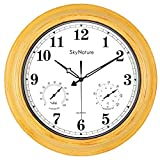 Large Outdoor Clock, Waterproof Clock with Thermometer and Hygrometer Combo, Silent Battery Operated Retro Metal Clock for Living Room, Patio, Garden, Pool Decor - 18 Inch, Imitation Wood