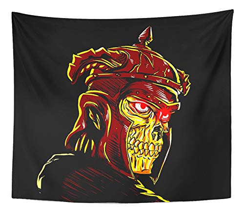 Emvency Tapestry Artwork Wall Hanging Yellow Antique Warrior Skull Wearing Ancient Helmet Armor Black Bone Dead Death 50x60 Inches Tapestries Mattress Tablecloth Curtain Home Decor Print for $<!--$19.90-->