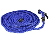 eBoTrade 100ft Latex Expanding Hose Magic Flexible Expandable Garden Water Hose with 8 Functions Spray Nozzle, Hose hook including.(Blue, 100FT)