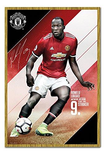 Manchester United Lukaku 2017 2018 Season Poster Kork Pinnwand Eichenholz-Rahmen, 96,5 x 66 cm (ca. 96,5 x 66 cm)