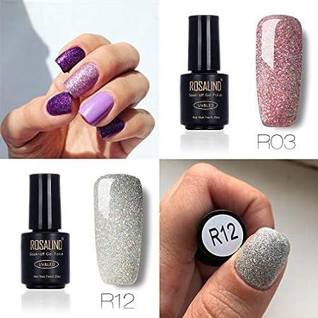 Juego de esmalte de uñas de gel con purpurina arcoíris para salón de uñas, UV y LED, esmalte semipermanente de gel para remojar, 4 botes, 7 ml .
