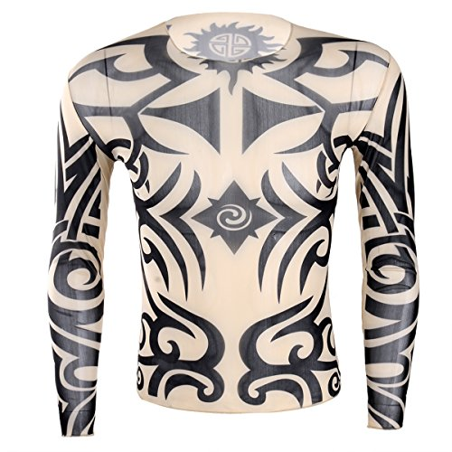 iEFiEL Mens Tattoo Halloween Elastic Long Sleeve T-Shirt Style D One Size (Halloween Costumes With Hawaiian Shirts)