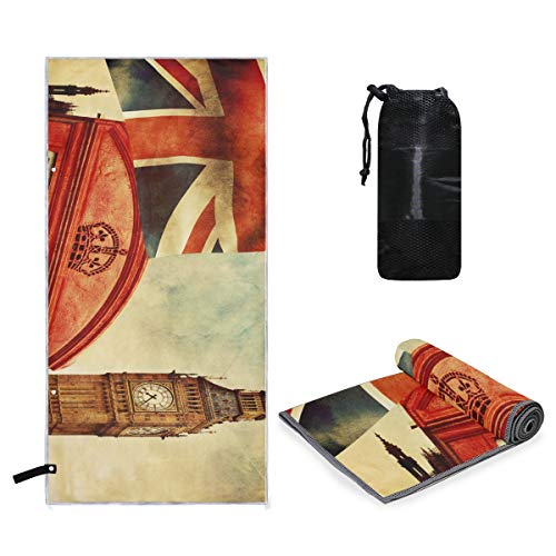 Microfiber Towel Vintage Famous London Big Ben Union Jack Small & Lightweight Microfiber Travel Towels, XL Yoga Large Gym Beach Sport Towel 63 x 31.5 inch]()
