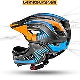 ROCK BROS Kids Bike Helmet Toddler Full Face Helmet Detachable Ultralight Mountain Bike Cycling Helmet for BMX Bicycle, Skateboard, Scooter, Child Safety Helmet Protective Gear CE Certified