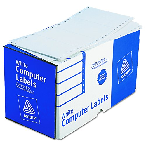 Pack Dot Matrix Printer Labels (Avery Continuous Form Computer Labels for Pin-Fed Printers 5