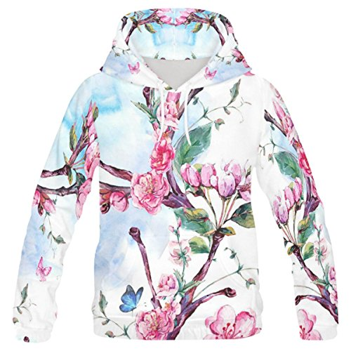 INTERESTPRINT Custom Watercolor Beautiful Flower Butterfly Teenager's Pullover Hoodies Sweatshirt XXS