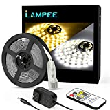 Dimmable LED Strip Lights, Lampee 16.4ft Daylight/ Warm White Non-waterproof Mirror Lights for Vanity Makeup Table 3000-6500K with 12V Power Supply for Kitchen, Bedroom, Under Cabinet