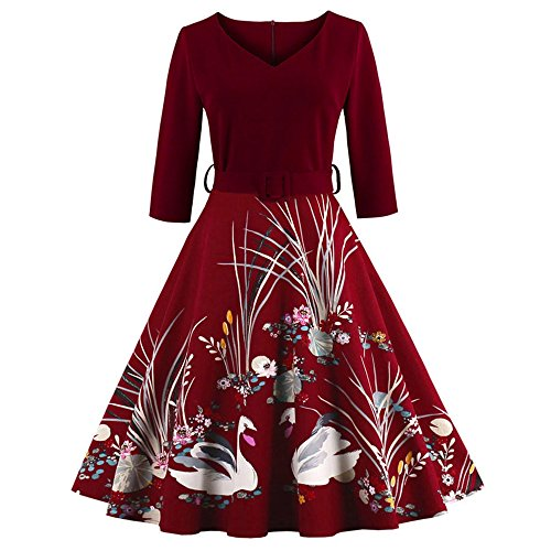 Cocktail 1950's Dress Tea Burgundy Rockabilly Floral Print Women's Vintage Swing CharMma 1nwaqRgHx