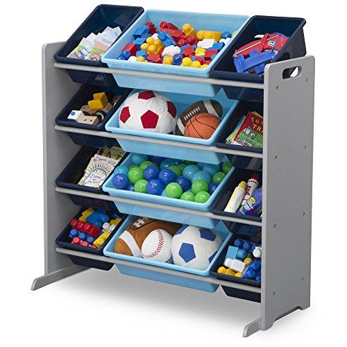 51rJk 3ignL - Delta Children Kids Toy Storage Organizer with 12 Plastic Bins, Grey/Blue, Grey/Blue