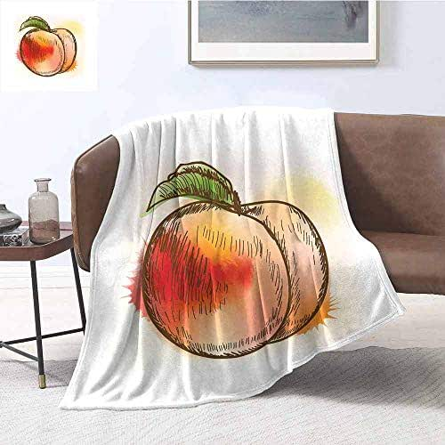 Luoiaax Peach Children's Blanket Fresh Fruit Full of Vitamins and Nutrition Food Sketch Color Splatters Lightweight Soft Warm and Comfortable W70 x L70 Inch Scarlet Pale Orange Green