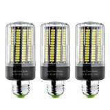 Bogao 3-Pack E26/E27 15W 156 LED 5736 SMD LED Corn Bulb,Replacement Incandescent Bulbs,White light,1500 Lumens, Energy Saving Home Light Bulbs Lamp with Cover(No-Dimmable 6000K)