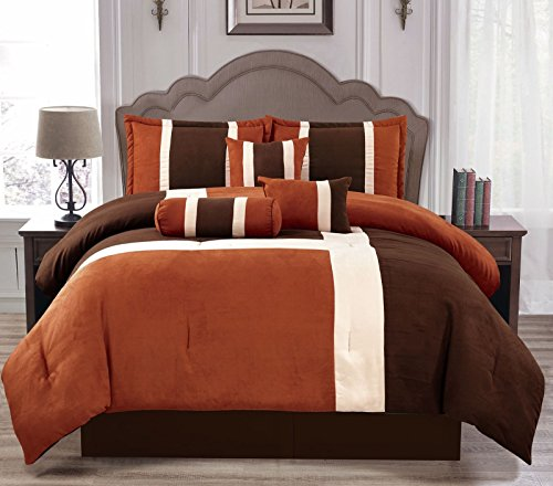 Anissa Collection Luxurious 11-Piece Micro Suede Soft Comforter Set & Bed Sheets Limited-Time SALE!! (Rust & Brown Brick, Full) (Brick Sale Furniture)