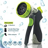 HIDRO2O High Pressure Hose Nozzle, Ideal for Gardening, Watering Plants and Lawns, Dogs and Pet Cleaning, 8 Pattern Hose Made of Heavy Duty Metal - Includes Extra Washers and Quick Release Connectors ()