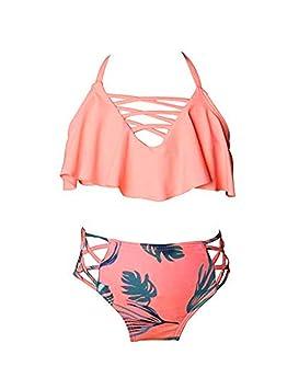 2a6d5faf47 besbomig Maillots de Bain Deux pièces Enfant Filles Tankini Bikini Swimsuit  Swimwear pour 2-8