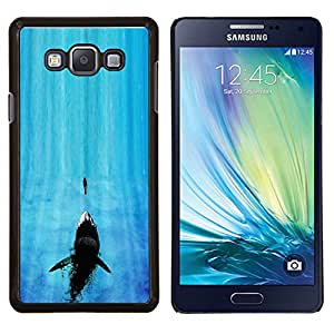 KLONGSHOP // Cubierta de piel con cierre a presión Shell trasero duro de goma Protección Caso - Tiburón de mandíbula - Samsung Galaxy A7 A7000 //