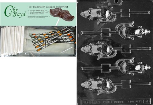 Cybrtrayd 45StK25H-H060 Rat Lolly Halloween Chocolate Mold with Lollipop Supply Kit