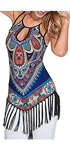 ETCYY Women's Summer Printed Vest Strap Camisole Casual Tassels Tank Tops, Small, muti-color muti-color Small