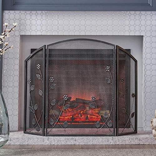 3 PCSの葉の装飾、木材や石炭焼成、ストーブ、グリル用ワイドメタルメッシュ安全暖炉ガード付き折りたたみアイアンファイアパネル、スパーク炎バリア (Color : Black)