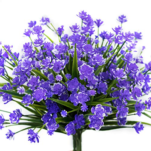 E-HAND Artificial Daffodils Flowers,Fake Plant Outdoor Faux Blue Purple Flora Greenery Bushes Fence Indoor Outside Decor