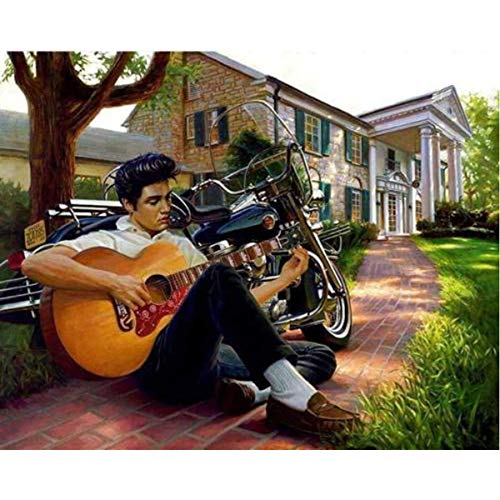 Leezeshaw 5D DIY Diamond Painting by Number Kits Fameless Rhinestone Embroidery Paintings Pictures for Home Decor - Elvis Presley(15.7x11.8inch/40x30cm)