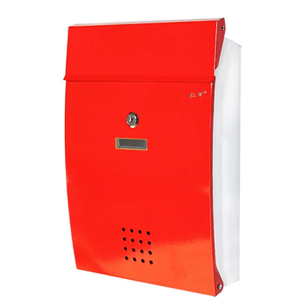 ヨーロッパの創造的な屋外のメールボックス錫ヴィラのメールボックスの庭の新聞の箱の屋外の家 (色 : Red, サイズ さいず : 37.5*25.5*8.5cm) 37.5*25.5*8.5cm Red B07KHSYJWR