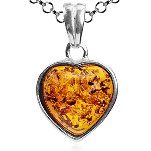 Amber Honey Heart (Honey Amber Sterling Silver Tiny Heart Pendant Necklace Chain 18