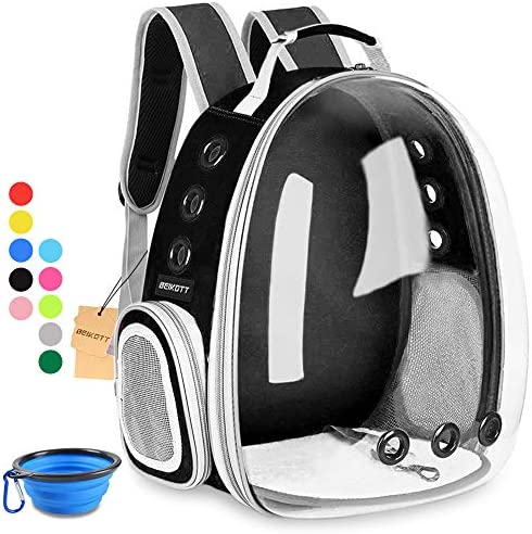 BEIKOTT Cat Backpack Carriers, Pet Bubble Backpack Carriers for Cats Puppy Dogs and Birds, Airline-Approved, Ventilate Transparent Capsule Carrier Backpack for Travel, Hiking and Outdoor Use