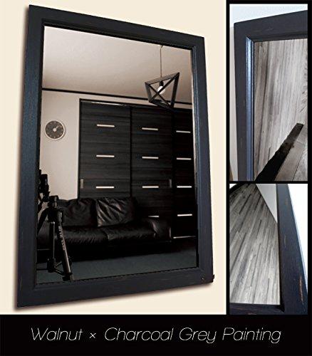 おしゃれな壁掛け鏡 アンティークデザインミラー (ウォルナット×チャコールグレー色) B06XJYRZHGウォルナット×チャコールグレー色