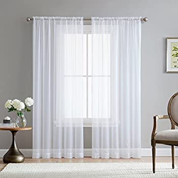 HLC.ME White Sheer Voile Window Treatment Rod Pocket Curtain Panels for Kitchen, Bedroom and Living Room (54 x 95 inches Long, Set of 2)