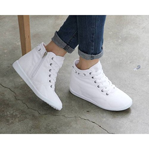 02e39a7e806e EpicStep Women s Casual Canvas Zip Lace Up High Tops Hidden Wedge Heels  Shoes Sneakers new