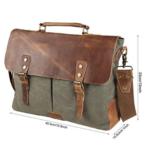 S-ZONE Fashion Canvas Genuine Leather Trim Travel Briefcase Laptop Bag (Big)