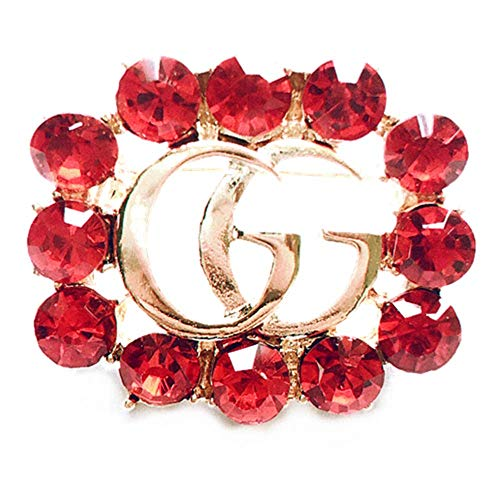 (Women's Fashion Delicate Hollow-Out Crystal Brooch Alphabet Small Brooch (Red))