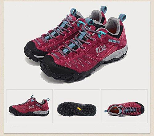 da da e donna estiva di aperta scarpe impermeabile Scarpe comodo scarpe pelle moda in rose e red indossare sportive da escursionismo autunnale traspirante resistente all'aria dFPOOqHX