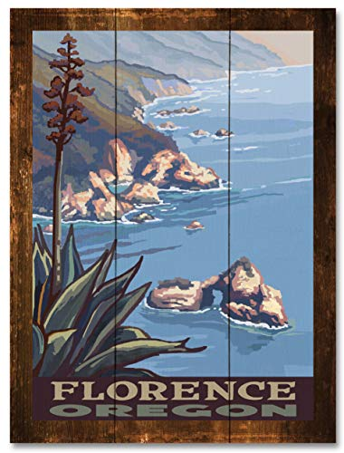 Florence Oregon Coastline Rustic Wood Art Print by Paul A. Lanquist (18