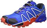 Salomon Men's Speedcross 4 Trail Running Shoe,Blue Yonder/Black/Lava Orange,US 1