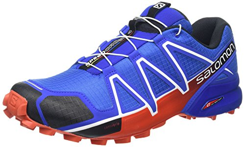 Salomon Men's Speedcross 4 Trail Running Shoe,Blue Yonder/Black/Lava Orange,US 7