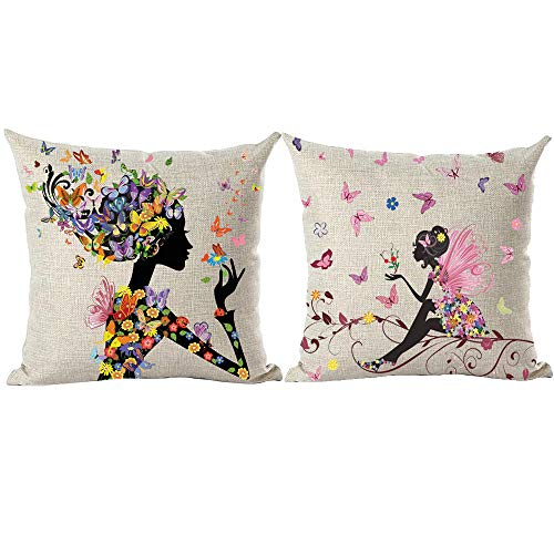 - ramirar Set of 2 Hand Painted Watercolor Colorful Beautiful Butterflies Women Girl Flower Decorative Throw Pillow Cover Case Cushion Home Living Room Bed Sofa Car Cotton Linen Square 18 x 18 Inches