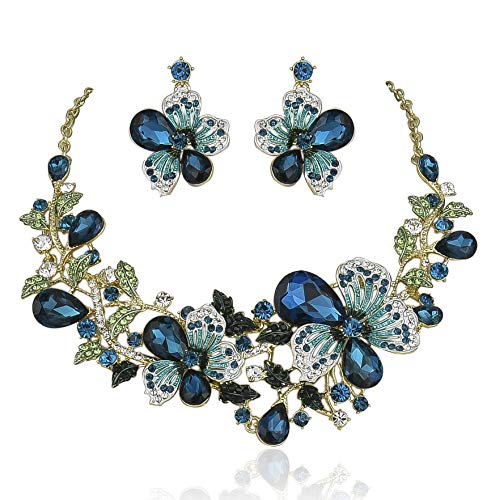Janefashions Sexy Flower Blue Austrian Rhinestone Crystal Bib Statement Necklace Earrings Set Choker Collar Prom Party Teal ()