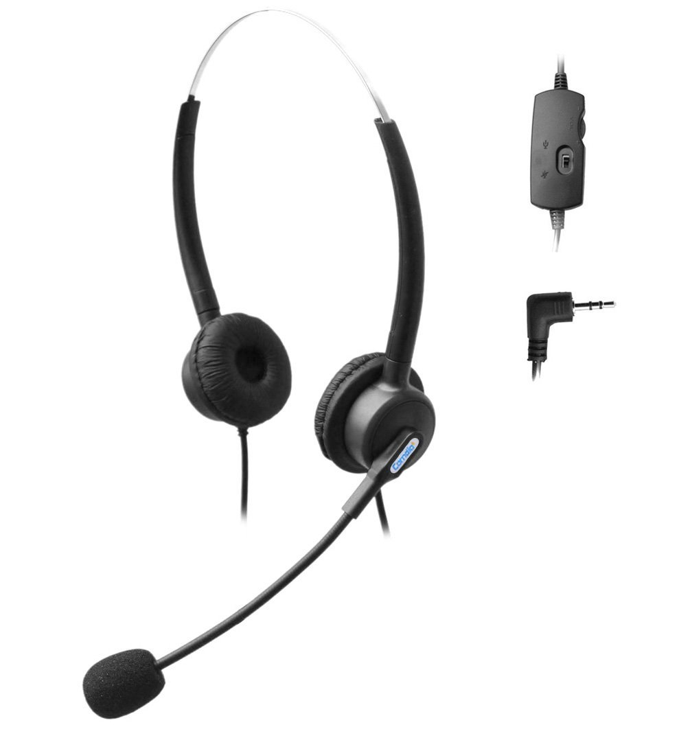 Comdio 2.5mm Call Center Telephone Headset Headphone with Mic + Volume Mute Controls for Grandstream AT&T TL88002 TL86103 TL86003 TL76108 TL7610 TL88102 TL86109 TL86009 with 2.5mm Socket (H203VP7)