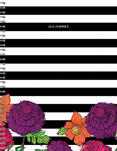 2018 Striped Floral 9x11 Daily Weekly Monthly Planner