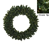72'' Pre-Lit Commercial Canadian Pine Artificial Christmas Wreath - Multi Lights