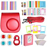Neewer Red 10 in 1 Accessories Kit For Fujifilm Instax Mini 8/8s: Camera Case; Album; Selfie Lens;4 Colored Filter; 5 Film Table Frame; 20 Wall Hanging Frame; 40 Border Sticker; 2 Corner Sticker; Pen