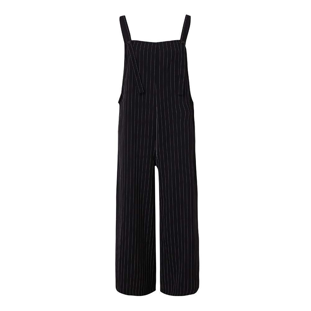 Ladies Fashion Elegant Jumpsuit Ladies Jumpsuits Wide Leg,Striped Straps Plaid Culotte Jumpsuit Overalls Plus Size Black S