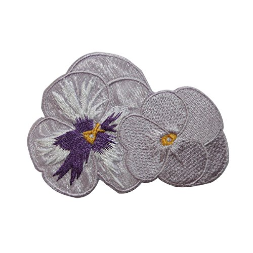 (ID 6530 White Pansy Flowers Blossom Patch Garden Embroidered Iron On Applique)