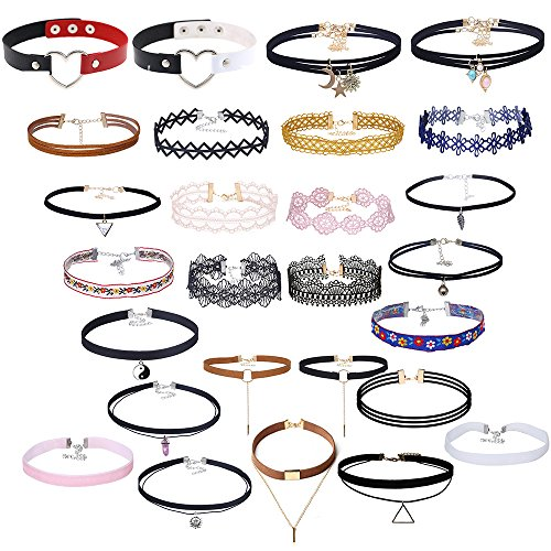 (MingJun 27 Pcs Vintage Velvet Tattoos Multilayer Choker Necklace Set Gothic Punk Colorful Lace Handmade Collar Necklace with Pendant for 80s 90s)