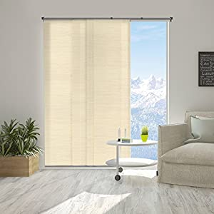 "Chicology Adjustable Sliding Panels, Cut to Length Vertical Blinds, Abaca Alabaster (Natural Woven) - Up to 80""W X 96""H"